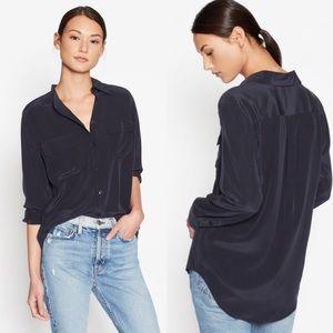 {EQUIPMENT} Slim Signature Silk Shirt Eclipse Blue